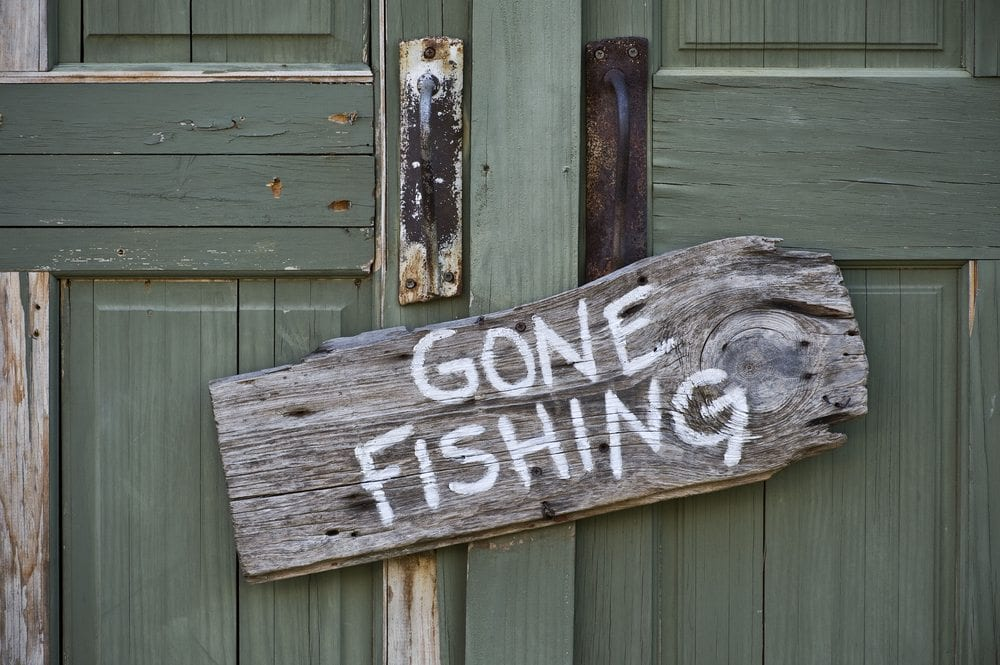 Gone Fishing sign.