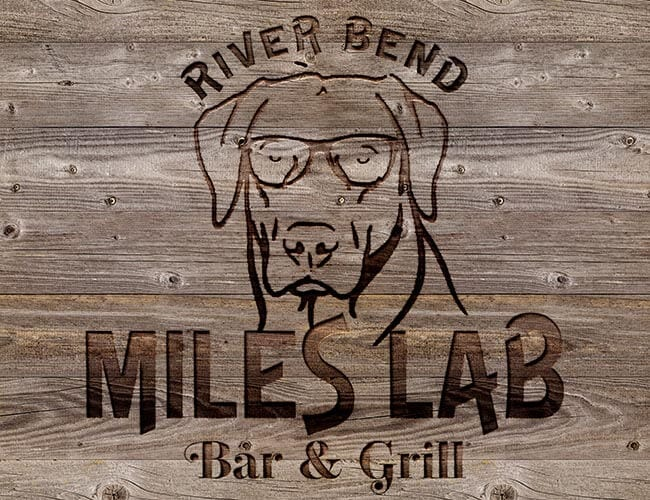Text: River Bed Miles Lab Bar & Grill.