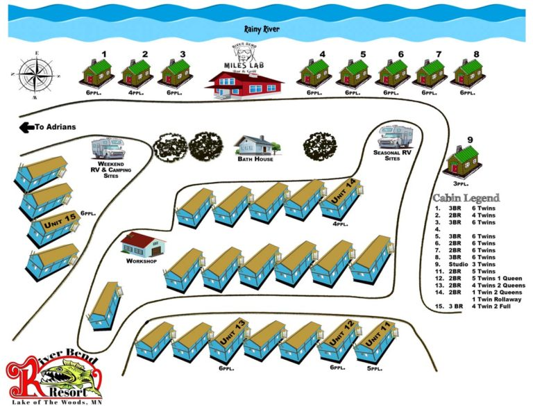 Resort Map Graphic showing Cabins and RV Park at River Bends Resort in Lake of the Woods