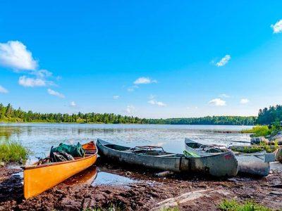 Kayaks on the shore.